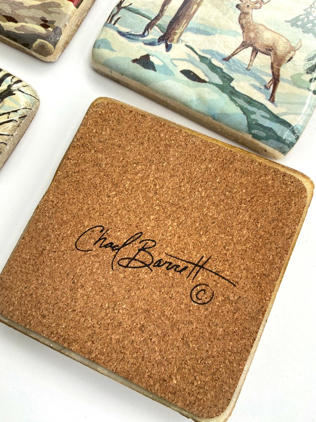 Chad Barrett signature on the back of one of the coasters