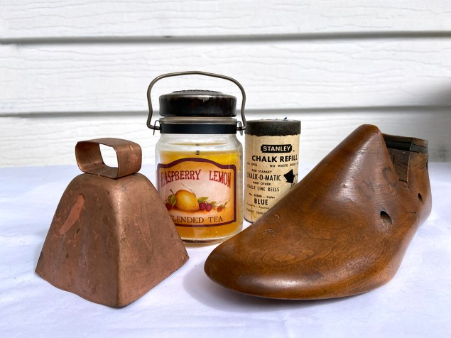Thrift haul: copper cow bell, jar candle, chalk refill container and vintage wooden shoe form