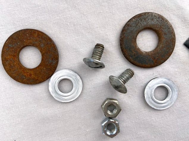 Washers, nuts and bolts that will become eyes for Robot Frankenstein