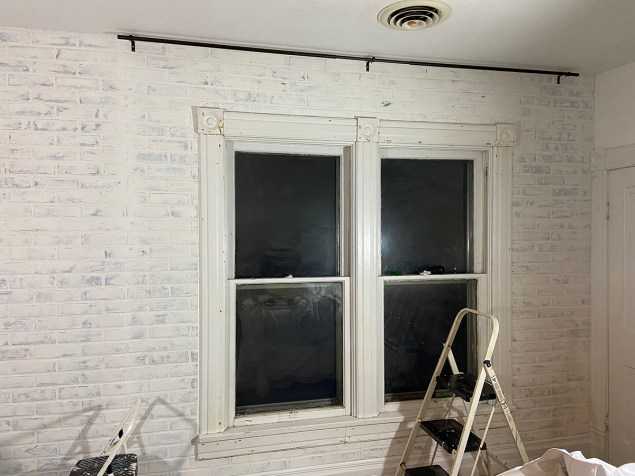 faux brick wall made from paneling