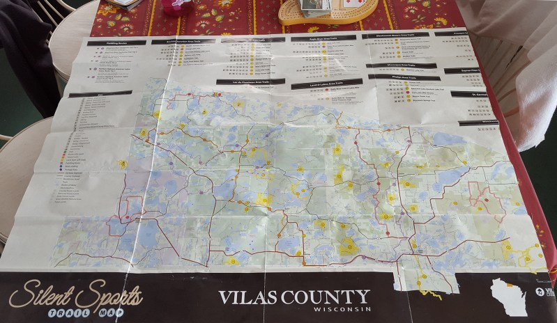 This Vilas County Silent Sports Map pieces together all of the small trail maps available from local municipalities.