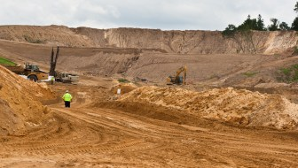 An overview of the 400 acre plot of Preferred Sands mine in Blair, WI, on June 20, 2012.