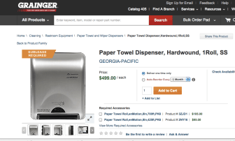 """This page from the Grainger office supply page lists the towel dispensers at $499 and says """"Sublease required."""""""