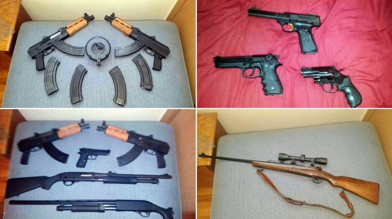 Guns in the collection of former gang member Rico include (clockwise from top left): Mini-AK semi-automatic pistols which he bought privately without a background check. Red background: A 9-millimeter Beretta, left, a .22-caliber Long Rifle pistol, top, and .44-caliber Magnum were all obtained from private sellers at gun shows with no background check. Bottom right: He bought an M24 sniper rifle privately without a background check. Bottom left: He bought the 9-millimeter Beretta handgun and the pump-action rifles at a gun show in Black River Falls through private vendors, also without a background check.