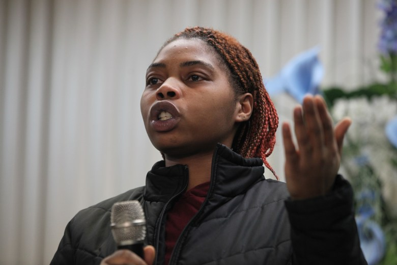 """Evanny Dorsey spoke at a meeting about lead in drinking water at the House of Prayer in Milwaukee on Dec. 6, 2016. She says her daughter, Avanny, age 3, has tested positive for elevated levels of lead three times in the past year. Because Avanny's blood lead levels were just below the limit that would trigger an inspection, no one has been to Dorsey's house to look for the source of lead. Dorsey suspects it's leaching into the water from her home's lead service lines. """"It's our future,"""" she said. """"It's our children that it's affecting."""""""