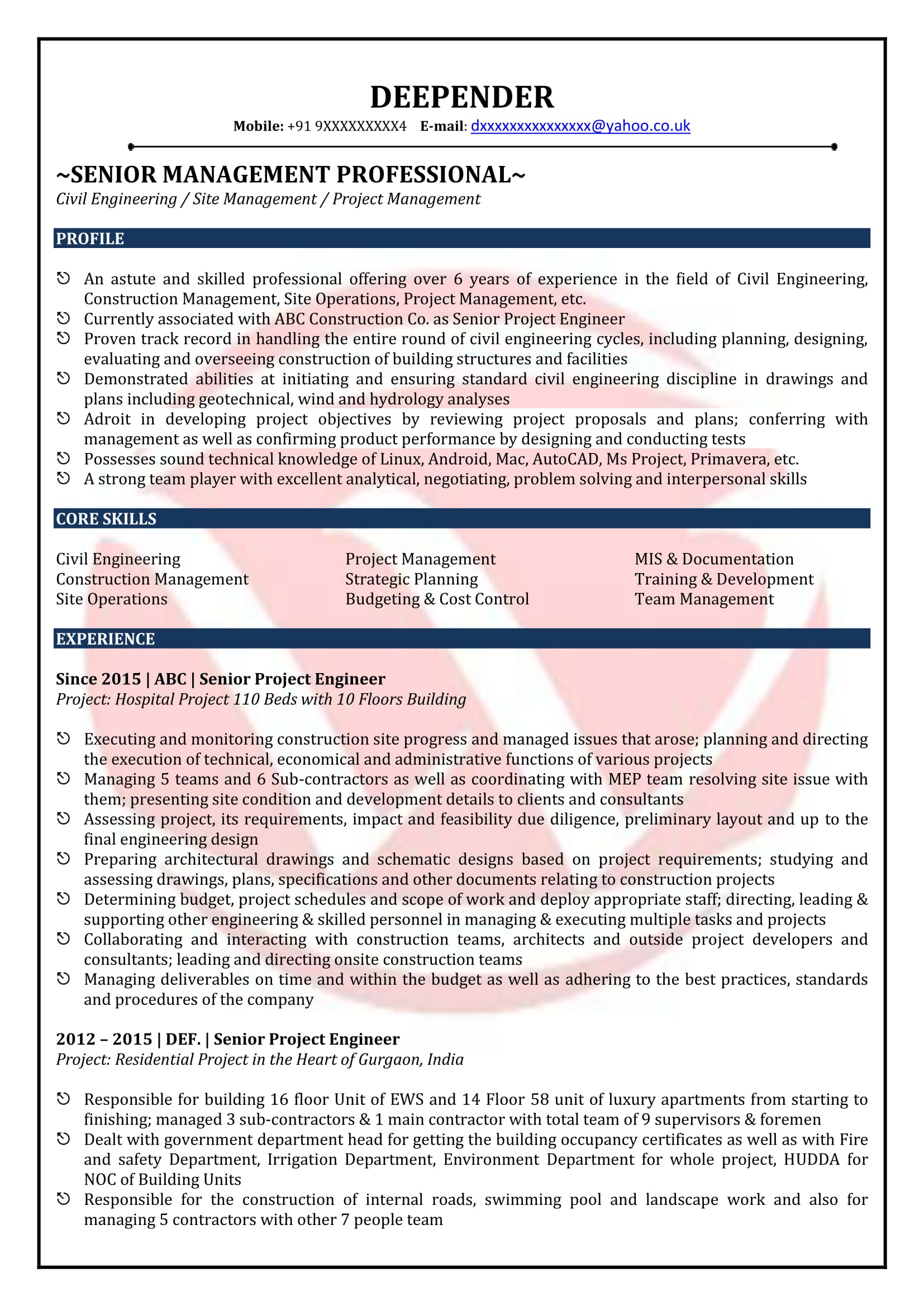 Resume Format For Quality Control Engineer Civil Engineer Sample Resumes Download Resume Format