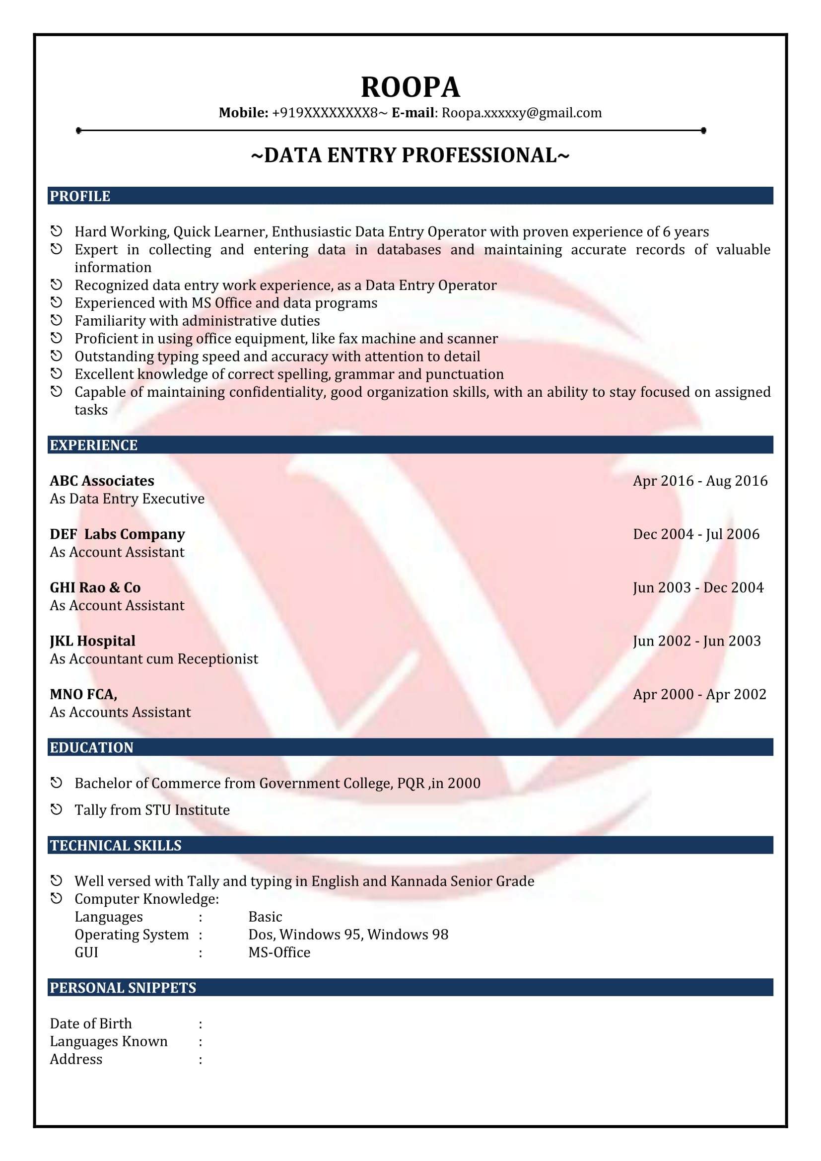 Data Entry Job Resume Data Entry Sample Resumes Download Resume Format Templates