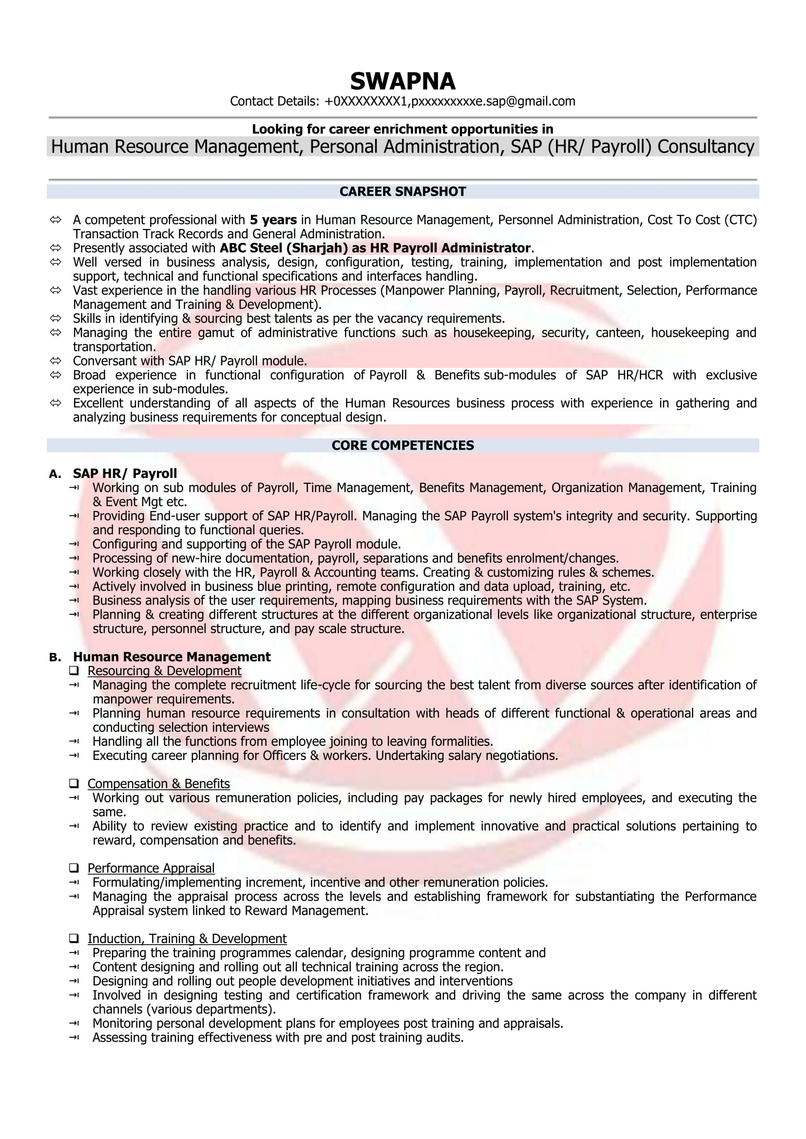 Hr Manager Resume Format Hr Executive Sample Resumes Download Resume Format Templates