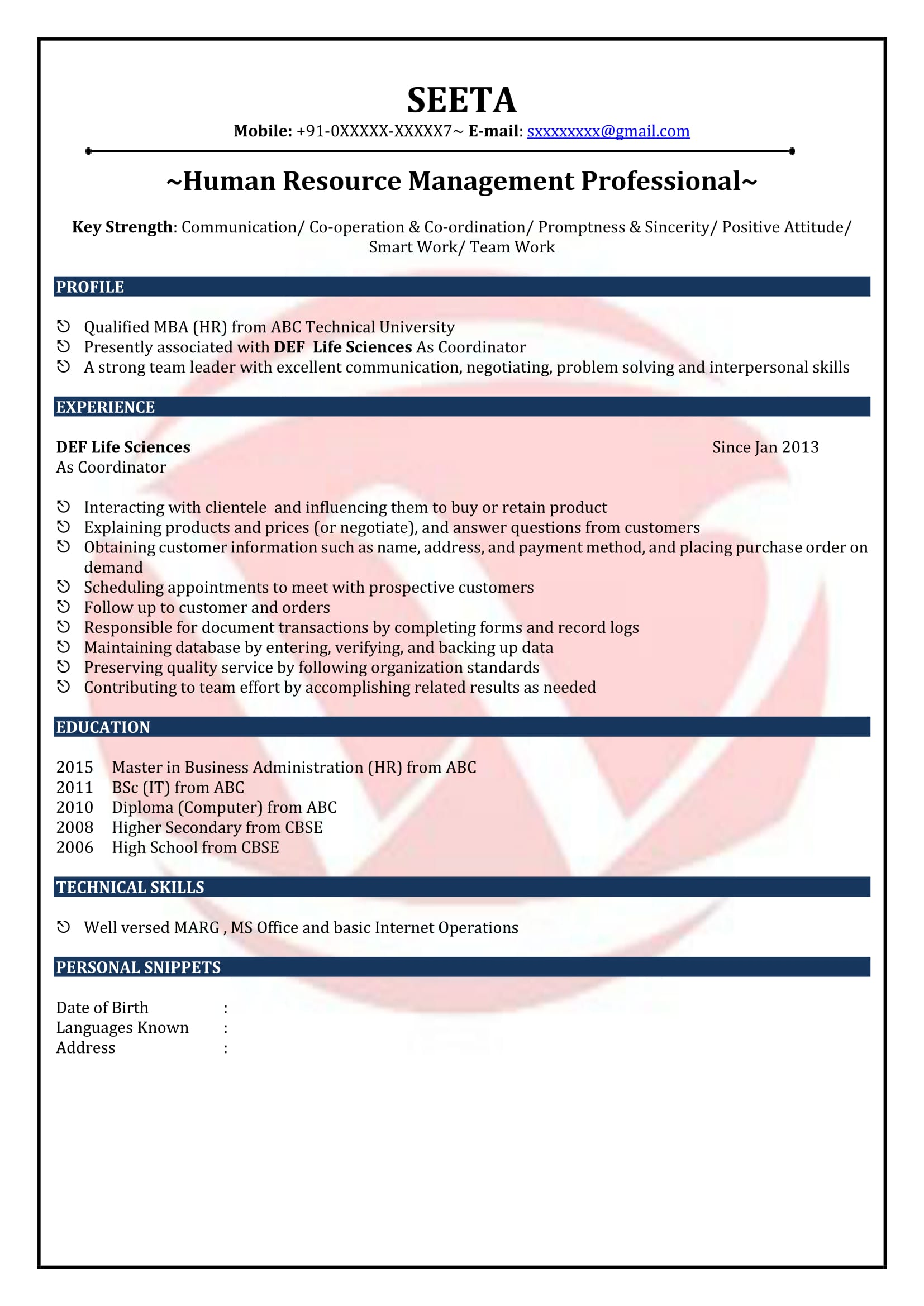 Sample Resume Format For Freshers Hr Fresher Sample Resumes Download Resume Format Templates