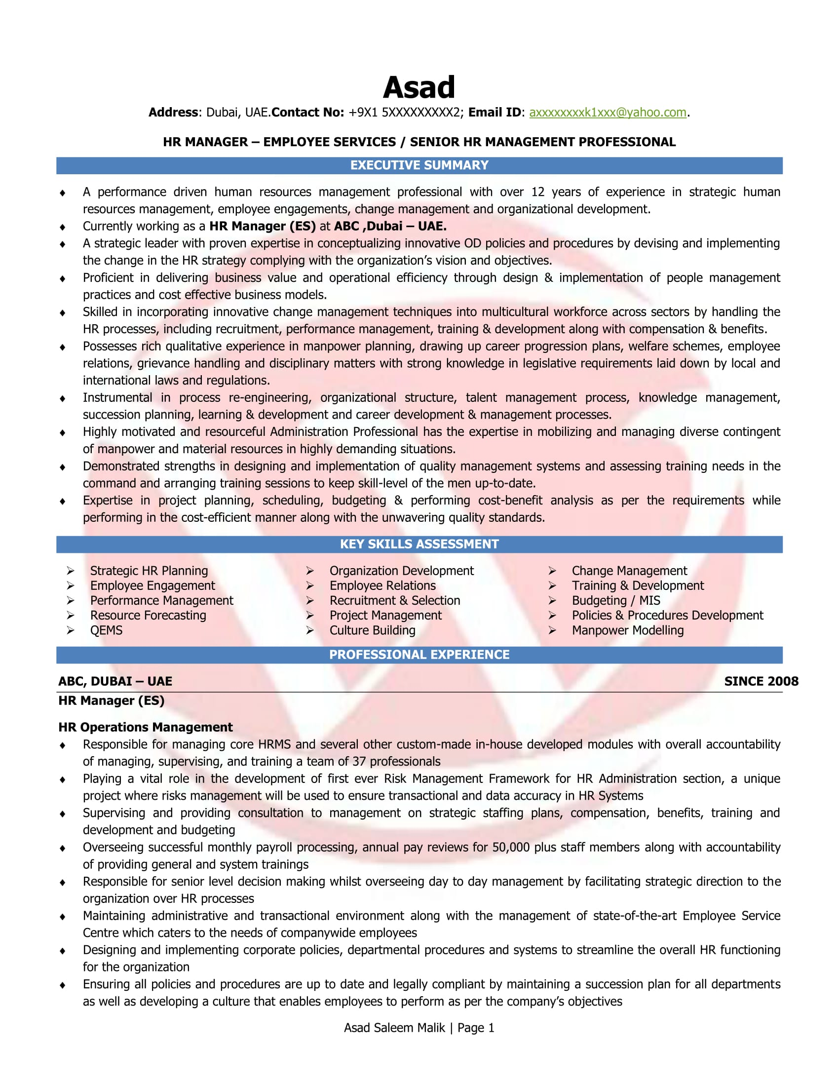 Hr Manager Resume Format Hr Manager Sample Resumes Download Resume Format Templates