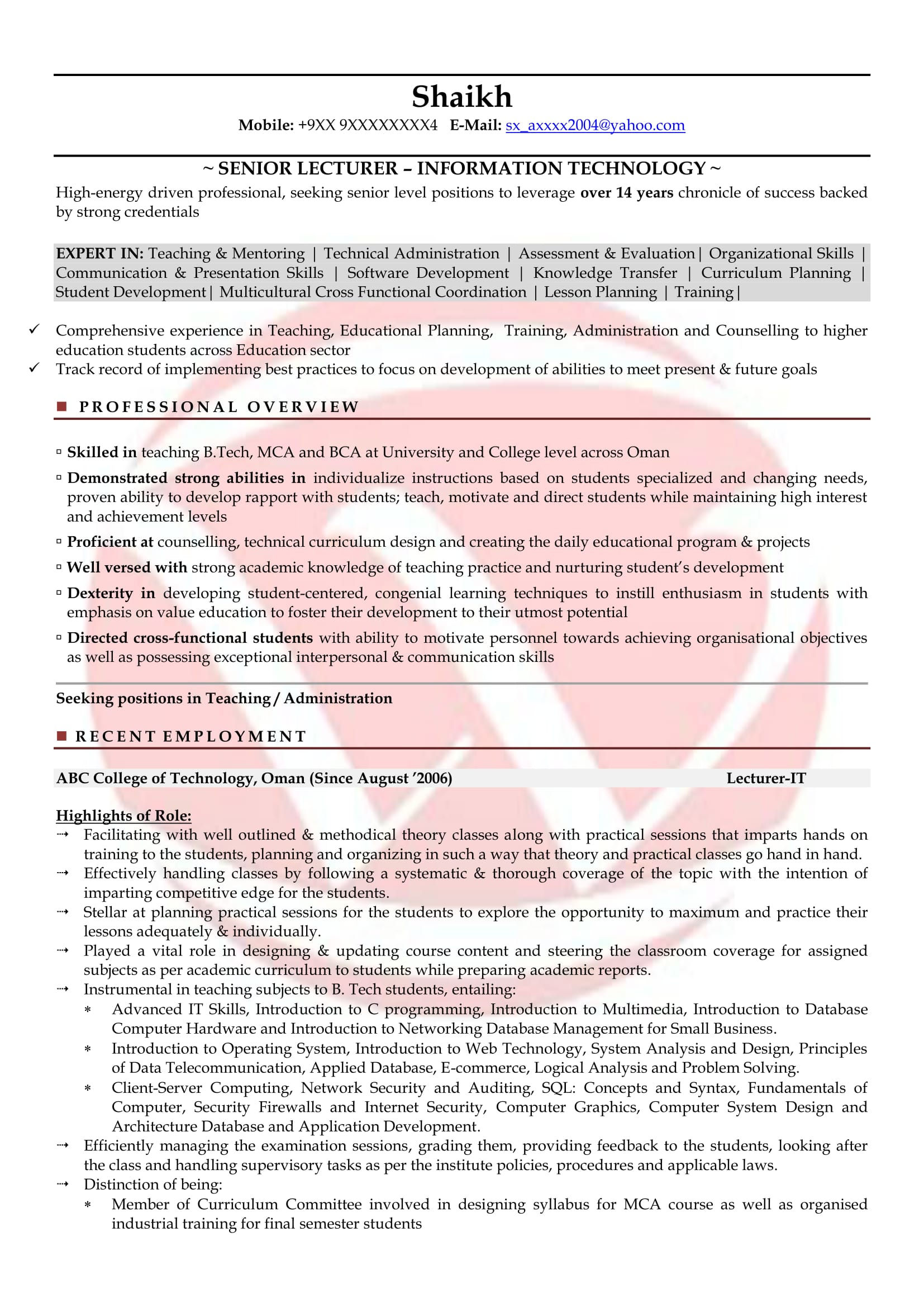 Resume Samples For Lecturers Lecturer Sample Resumes Download Resume Format Templates