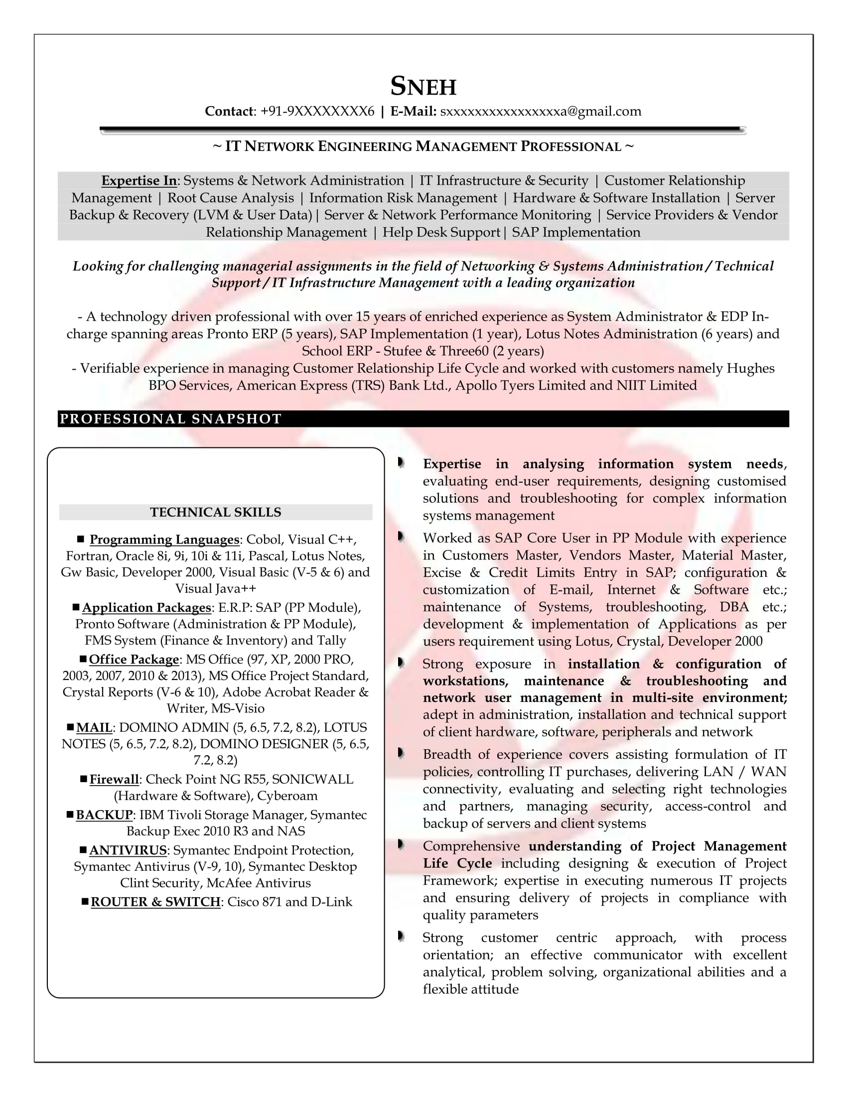 Resume For Network Engineer Network Engineer Sample Resumes Download Resume Format Templates