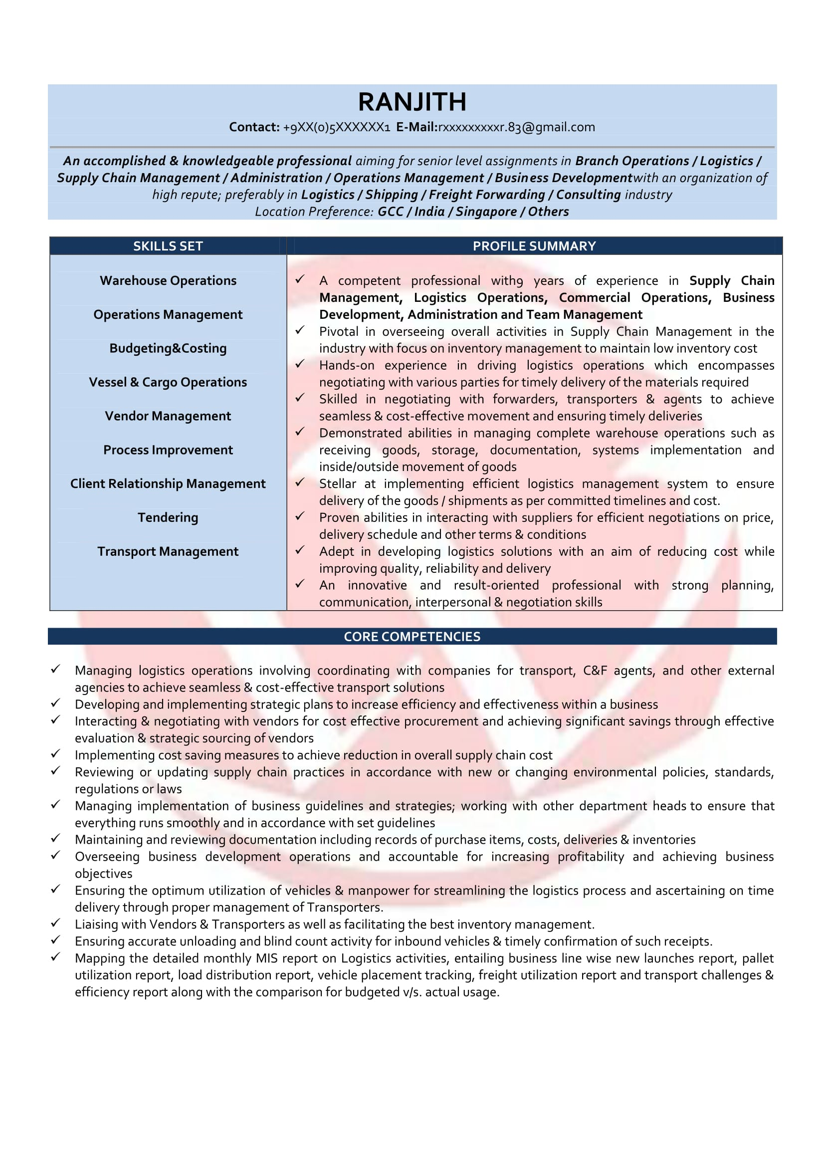 Supply Chain Executive Resume Format Operations Manager Sample Resumes Download Resume Format Templates