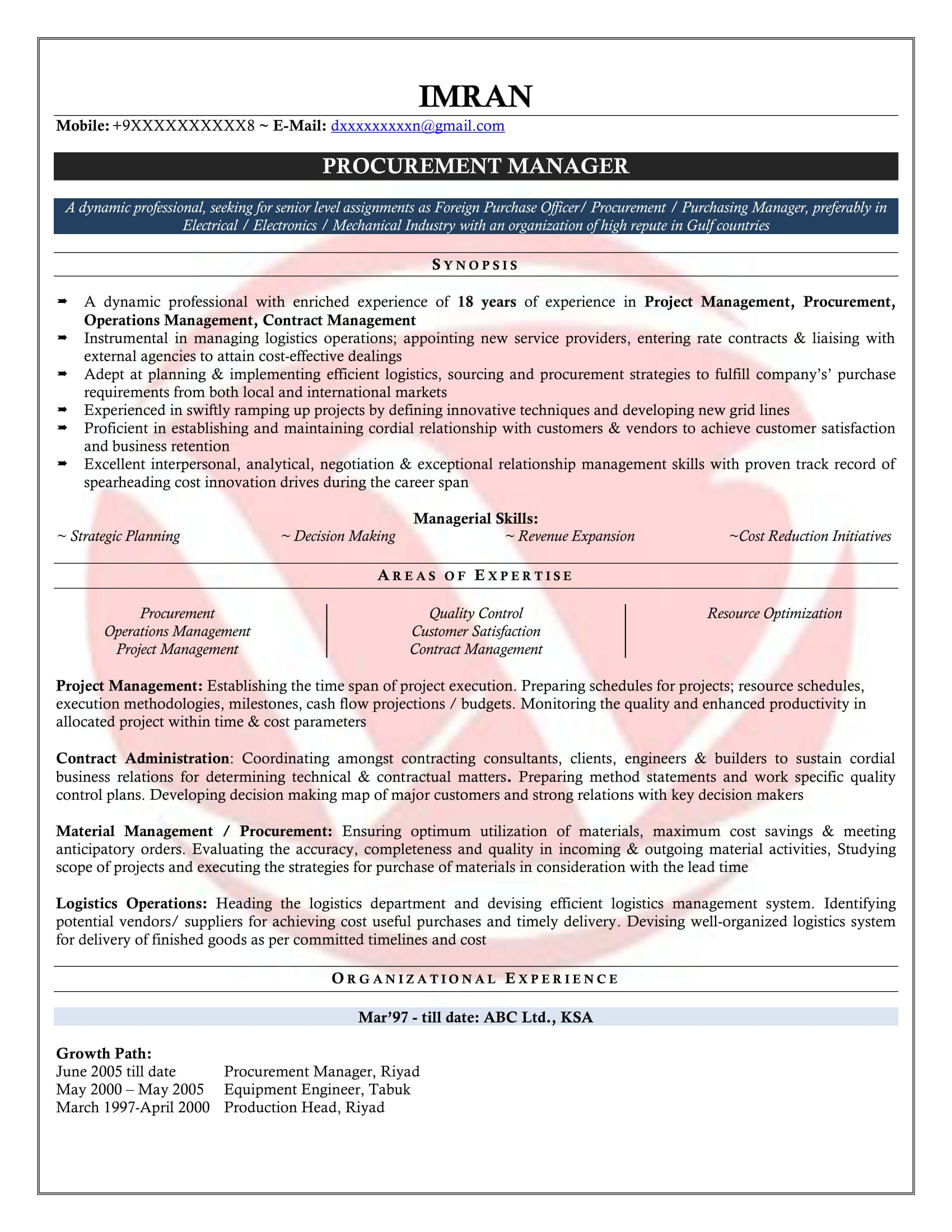 Sample Procurement Resume Purchase Manager Sample Resumes Download Resume Format