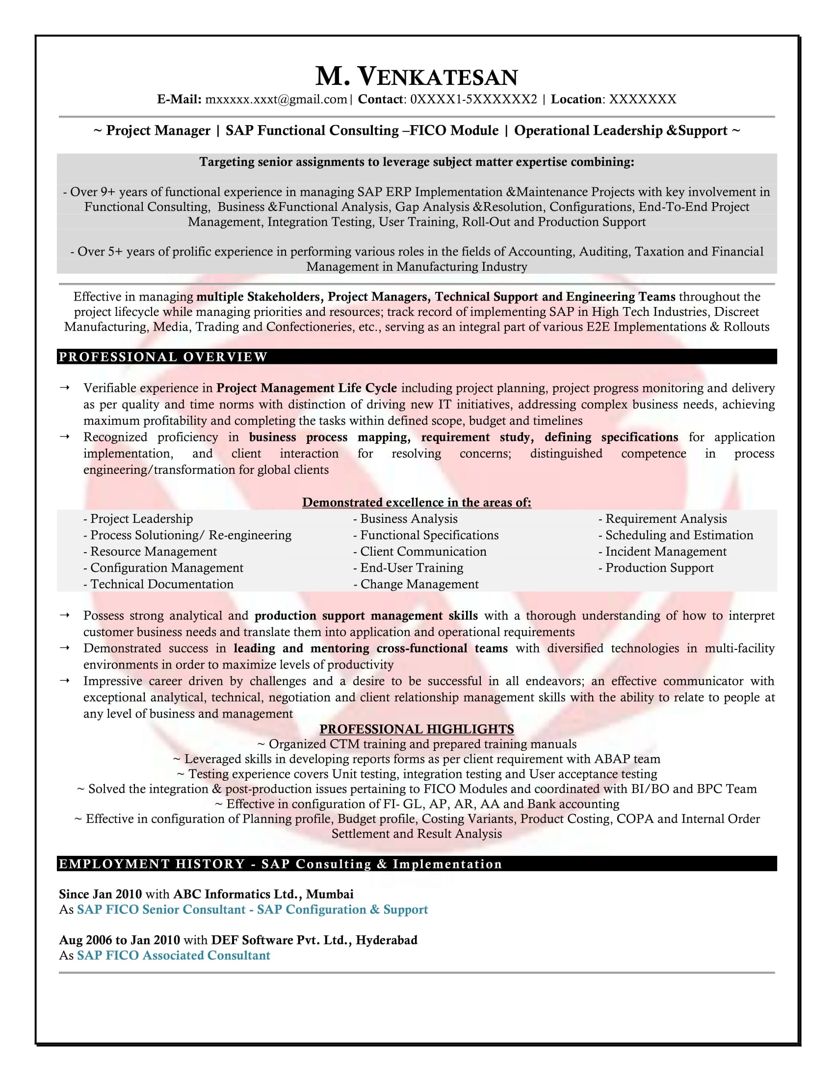 Oracle Financial Functional Consultant Sample Resume Sap Fico Sample Resumes Download Resume Format Templates