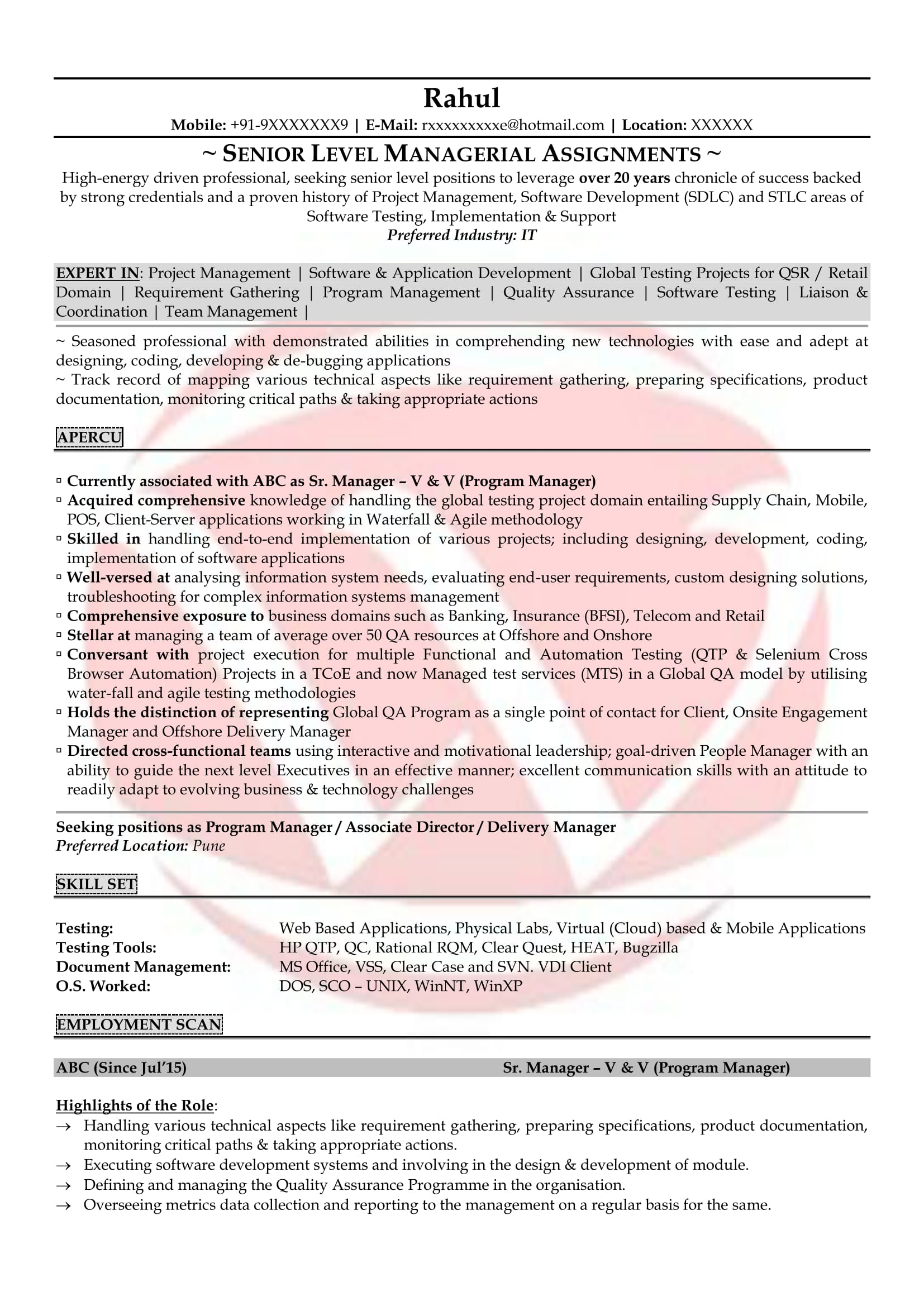 Software Testing Resume Format For Experienced Software Testing Sample Resumes Download Resume Format