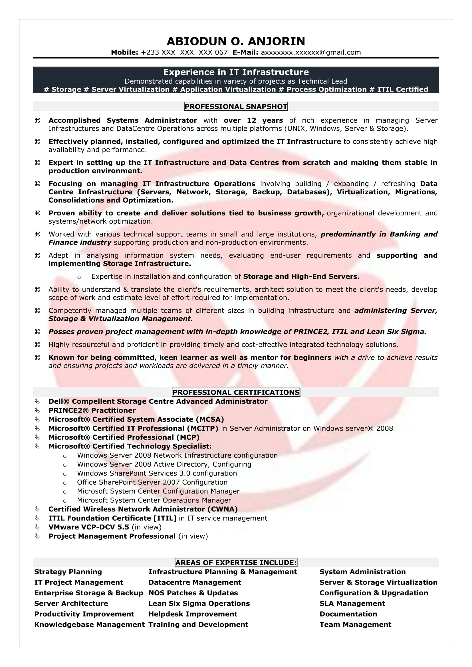 System Admin Resume Format System Administrator Sample Resumes Download Resume Format Templates
