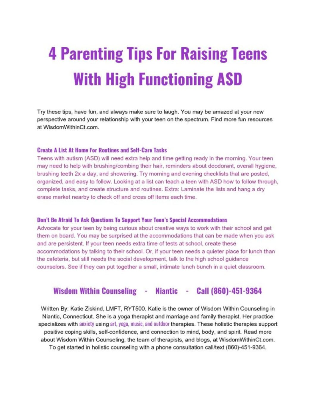 Teens with Autism (ASD) - Wisdom Within Counseling