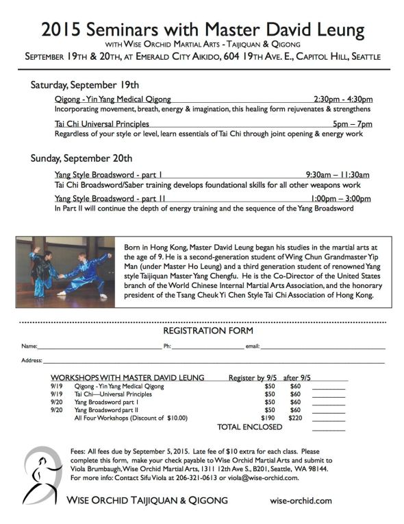 Register for Master David Leung's Tai Chi and Qigong Workshops coming up on September 19th & 20th here in Seattle!