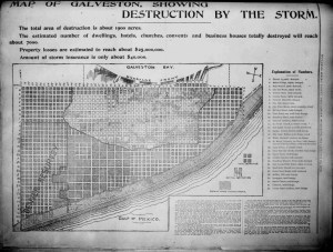 Map showing the destruction from the 1900 Storm. (Houston Daily Post photo)
