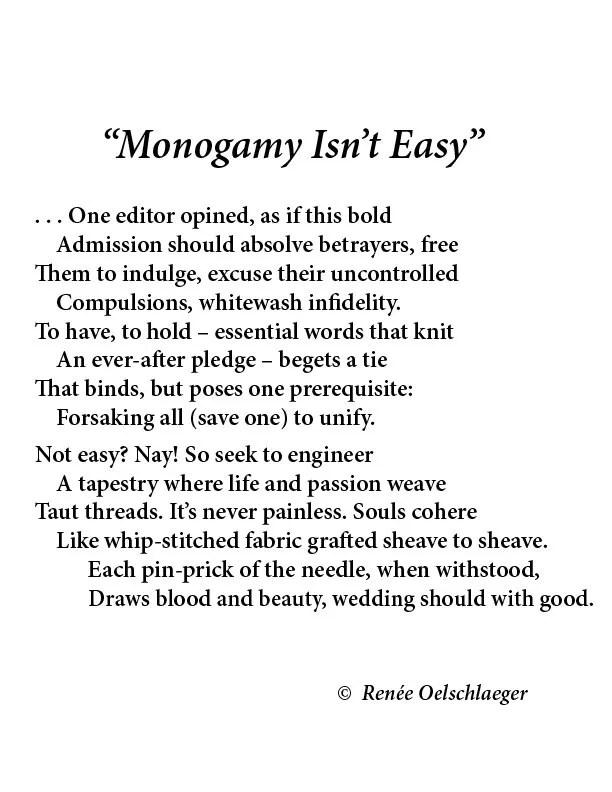 monogamy isn't easy, monogamy, marriage, pledge, infidelity, sonnet, poetry, poem