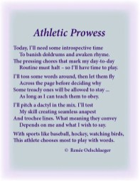 athletics, writing, athletic prowess, sports, hockey, baseball, sonnet, poetry, light verse