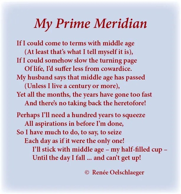 My-Prime-Meridian, aging, middle age, sonnet, poem, light verse