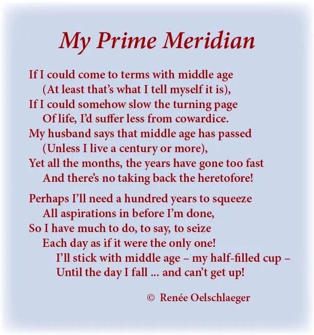 My-Prime-Meridian, aging, middle age, sonnet, poem, light verse