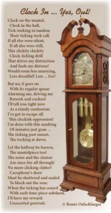 Clock-In, distractions, writing, cuckoo clock, tick-tock, light verse, poetry, poem