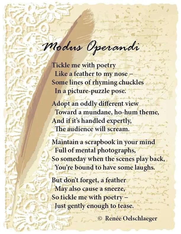 Modus-Operandi, tickle, tickling, poetry, feather, light verse, poem