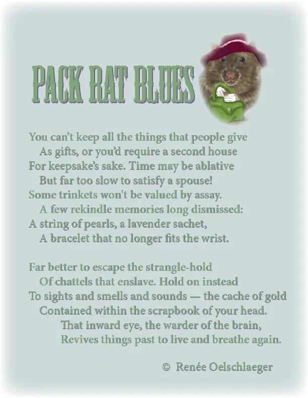Pack-Rat-Blues, pack rat, keepsakes, trinkets, remembering, sonnet, poetry, poem
