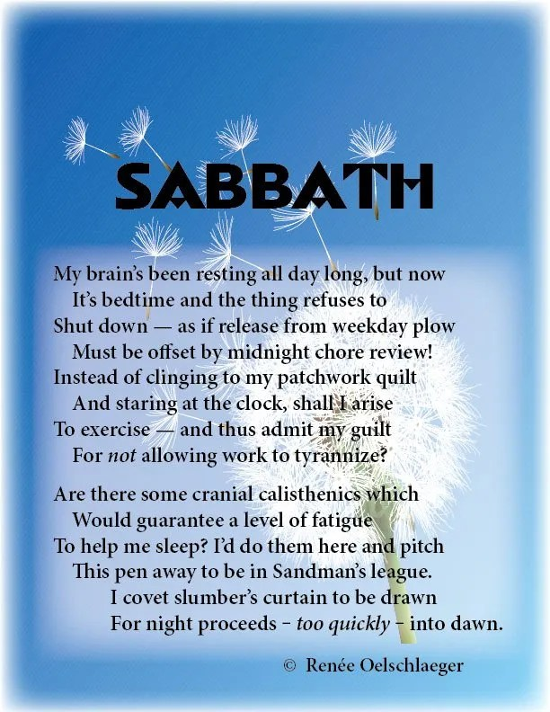 Sabbath, day of rest, slumber, insomnia, sonnet, poetry, poem