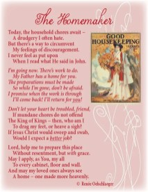 The-Homemaker, homemaker, household chores, drudgery, Jesus, preparing a place, poetry, poem