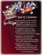Jane-Q-Customer, Wal-Mart, WalMart, shopping queen, pantoum, light verse, poetry, poem