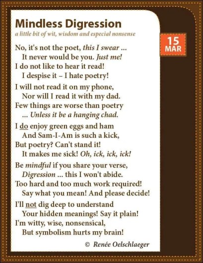 Mindless-Digression, mindful digressions, doobster418, I hate poetry, Sam-I-Am, light verse, poetry, poem