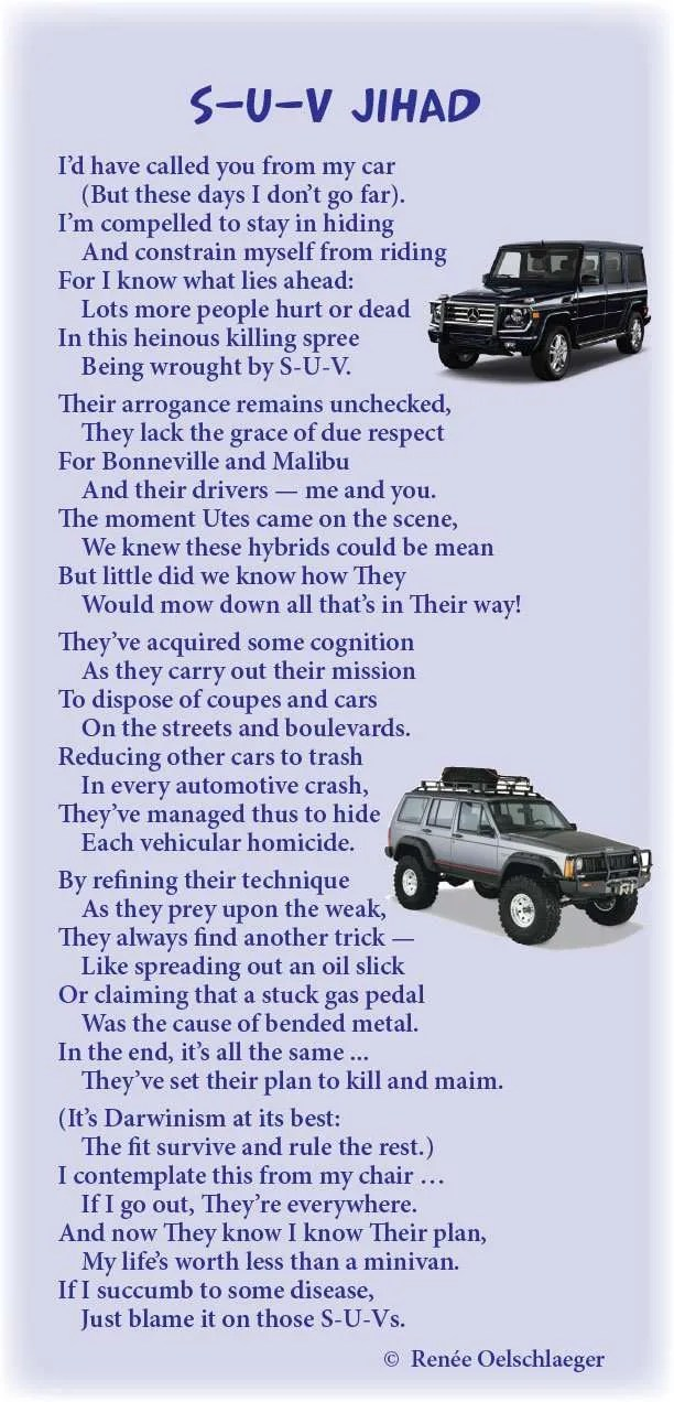 SUV-Jihad, hysteria, cars, sport utility vehicles, light verse, poetry, poem