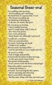 Seasonal-Sneezonal, allergies, sneezing, tickling, pollen, light verse, poetry, poem