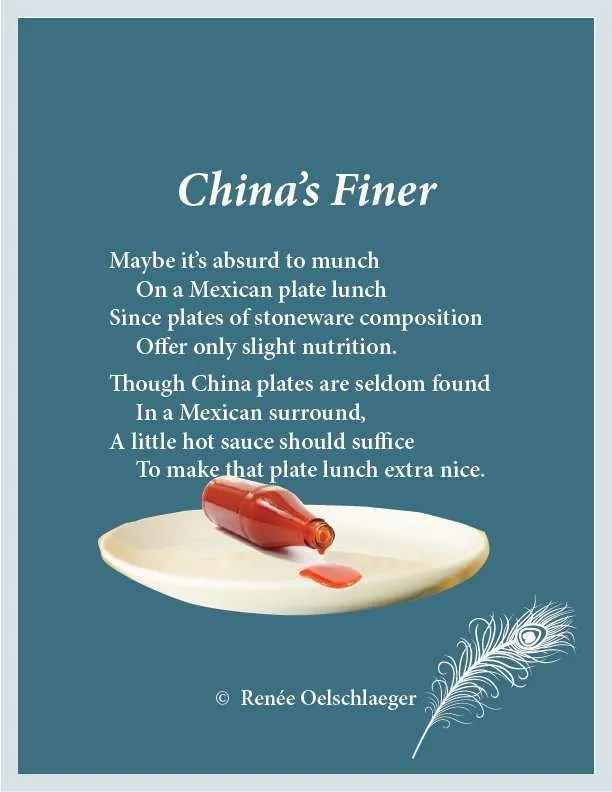 Mexican plate lunch, plates, China, hot sauce, light verse, poetry, poem