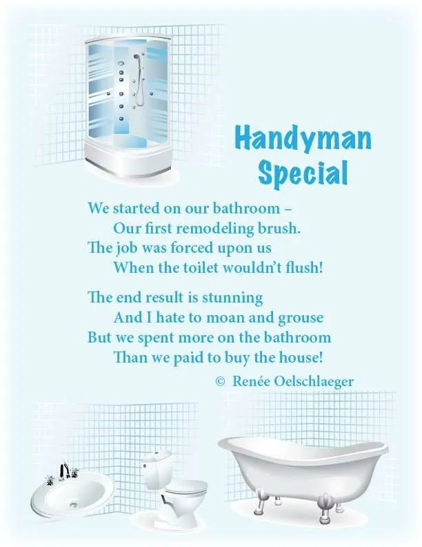 Handyman-Special, remodeling, renovation, bathroom updates, poetry, light verse, poem