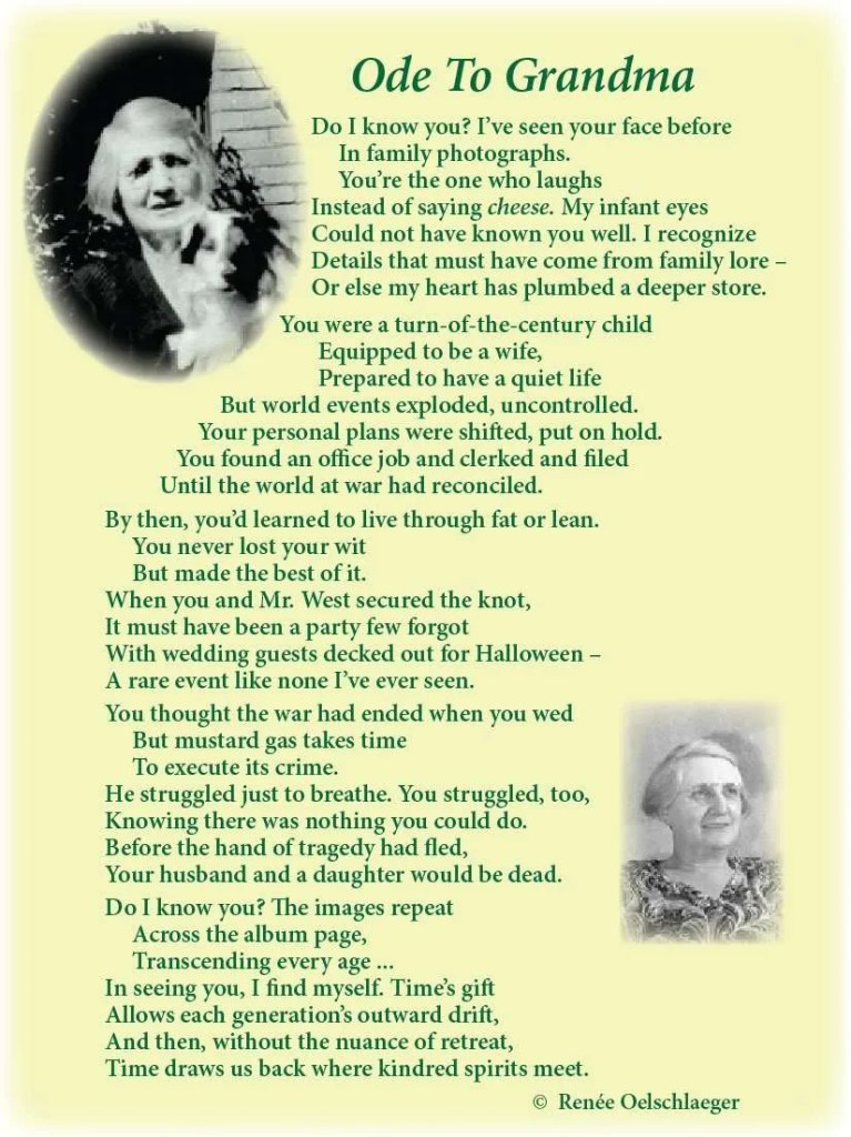 Ode-To-Grandma, World War I bride, family history, poetry, poem