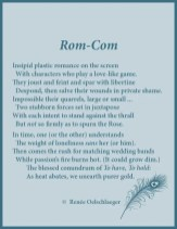 Rom-Com, romance, comedy, romantic comedy, plastic, love, the rose, wedding, marriage, courtship, sonnet, poetry, poem