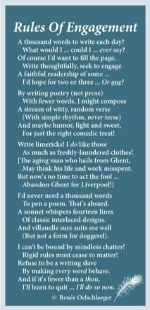 Rules-Of-Engagement, writing, versifying, 1000 words a day, thousand, poetry, light verse, poem