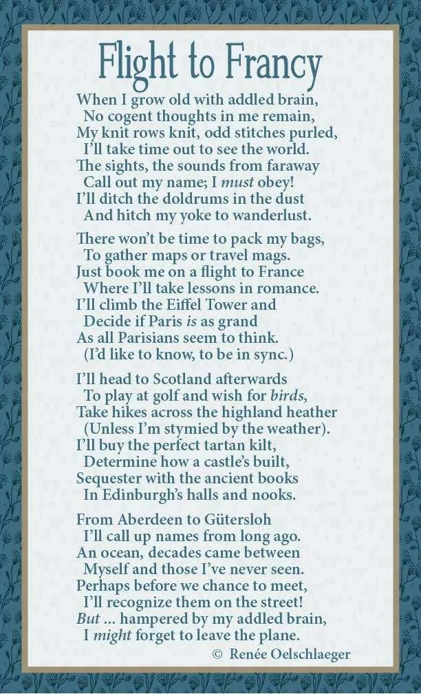 Flight-To-Francy, France, Paris, Scotland, Aberdeen, Gutersloh, addled brain, Edinburgh, wanderlust, doldrums, romance, light verse, poem, poetry