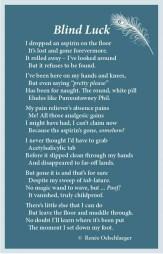 Blind Luck, aspirin, light verse, poetry, poem
