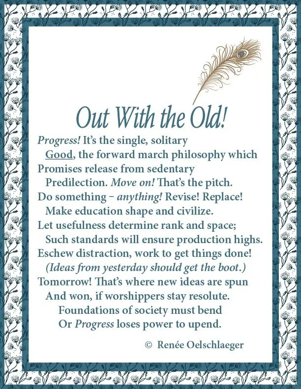 Out With the Old, sonnet, poem, poetry, Progress