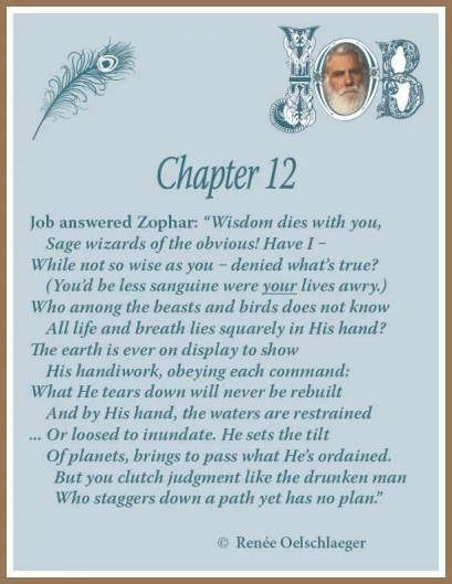 Job Chapter 12, sonnet, poetry, poem, Job's response