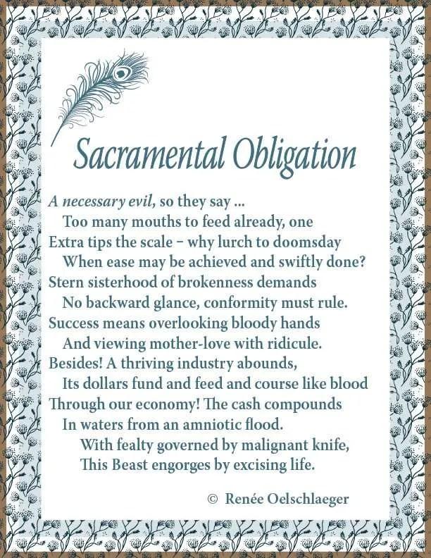 Sacramental Obligation, sonnet, poem, poetry, abortion