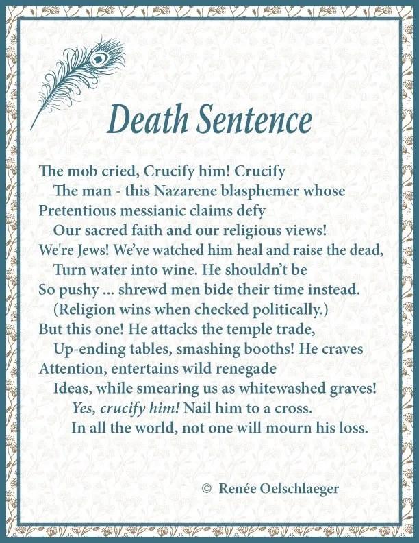 Death Sentence, sonnet, poetry, poem