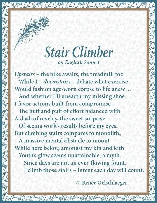 Stair Climber, Englark Sonnet, sonnet, poem poetry
