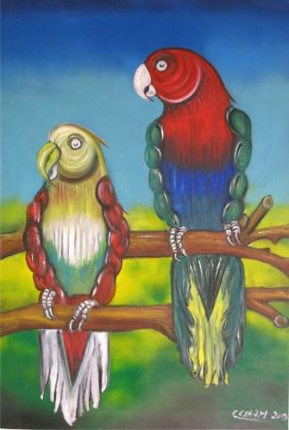 quadro pappagalli palestrati